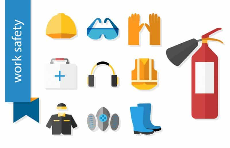 Set Of Flat Icons For Safety Work.