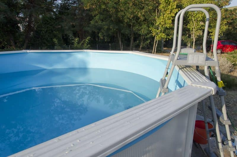 metal frame swimming pool ready for a bath